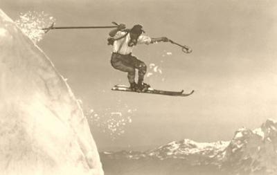 Airborne Skier over Mountains