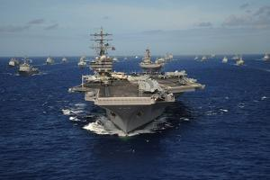 Aircraft Carrier USS Ronald Reagan Leads Allied Ships on Pacific Ocean, July 2010