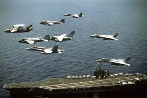 Aircraft Fly over the Nuclear-Powered Aircraft Carrier USS George Washington, 1992