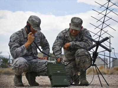 Airmen Operate a Mobile Ground Radio Satellite System