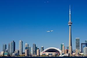 Airplane over City Skylines, Cn Tower, Toronto, Ontario, Canada 2011