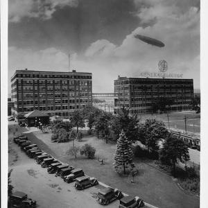 Airship over General Electric Building