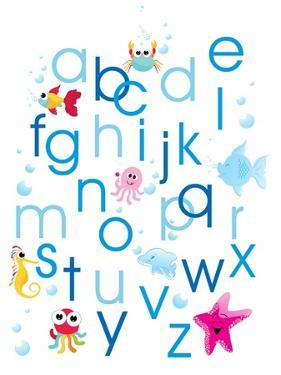 Alphabet Background with Water Animal by aispl