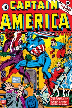 Captain America No.16 Cover: Captain America, Red Skull and Bucky Fighting
