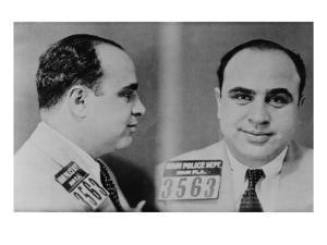 Al Capone, Prohibition Era Gangster Boss in 1931 Mug Shot Made by the Miami Police