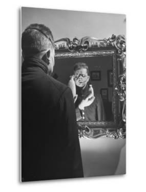 Cartoonist Charles Addams Experimenting with Scary Faces for His Cartoon, The Addams Family by Al Fenn