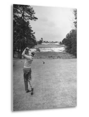Golfer Herman Keiser Hitting Drive on 367 Yard Second Hole During Masters Golf Tournament by Al Fenn
