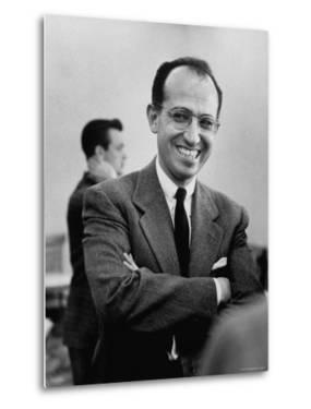 Inventor of the Polio Vaccine Dr. Jonas E. Salk Posing for a Picture by Al Fenn