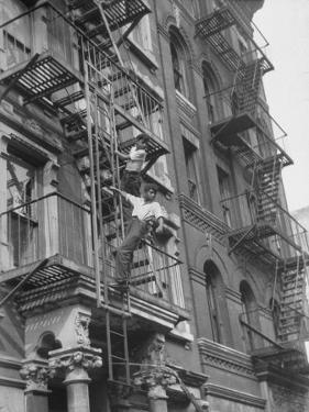 Puerto Rican Boys Climbing on Tenement Fire Escape by Al Fenn