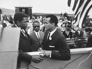 Sidney Poitier with Harry Belafonte, and Southern Sit in Leader Bernard Lee, at Civil Rights Rally by Al Fenn