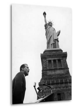 Singer Harry Belafonte, Speaking at Civil Rights Rally at Statue of Liberty by Al Fenn