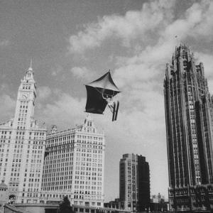 Stunt Man Jack Wylie Kite-Flighting over the Chicago River by Al Fenn