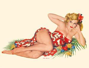 Blond Pin-Up in a Sarong - August 1951 by Al Moore