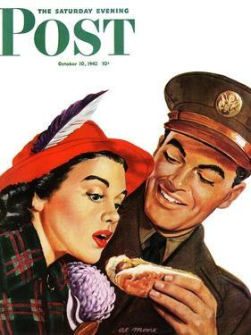 """Hot Dog for a Hot Date,"" Saturday Evening Post Cover, October 10, 1942 by Al Moore"