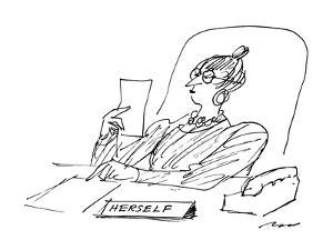 A woman executive sits at her desk reading a letter; on her desk is a sign? - New Yorker Cartoon by Al Ross