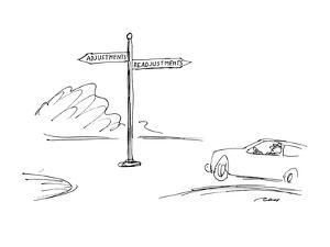Roadsign points in two directions.  One reads, 'Adjustments' and the other… - New Yorker Cartoon by Al Ross