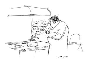 Tea kettle to itself as angry woman stands over it. - New Yorker Cartoon by Al Ross