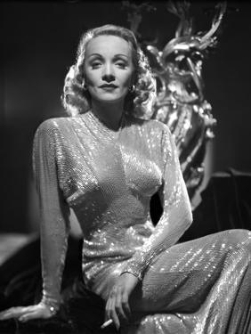 Marlene Dietrich Portrait wearing Glossy Dress with Sleeves by AL Schafer