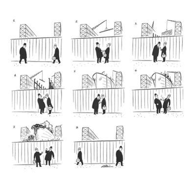 A couple of men stop outside a shipyard to smoke a cigarette and chat. Dur… - New Yorker Cartoon by Alain