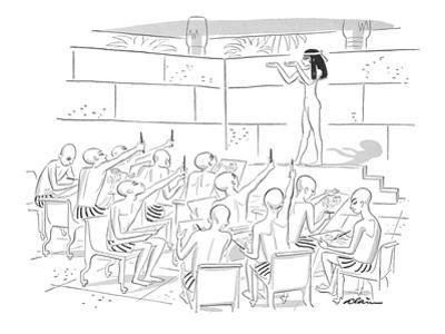 Egyptian art students drawing woman in hieroglyphic pose. - New Yorker Cartoon by Alain