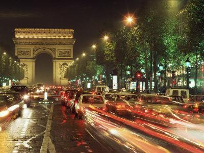 Avenue Des Champs Elysees and the Arc De Triomphe, Paris, France