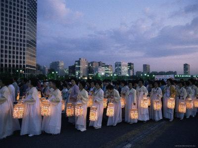Lantern Parade at Beginning of Buddha's Birthday Evening, Yoido Island, Seoul, Korea