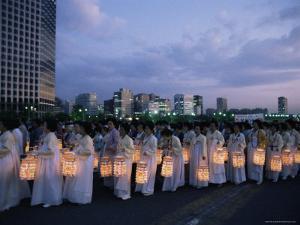 Lantern Parade at Beginning of Buddha's Birthday Evening, Yoido Island, Seoul, Korea by Alain Evrard