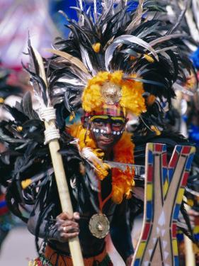 Portrait of a Boy in Costume and Facial Paint, Mardi Gras, Dinagyang, Island of Panay, Philippines by Alain Evrard