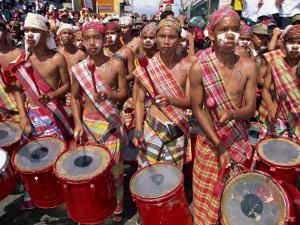 Portrait of a Group of Drummers During the Mardi Gras Carnival, Philippines, Southeast Asia by Alain Evrard