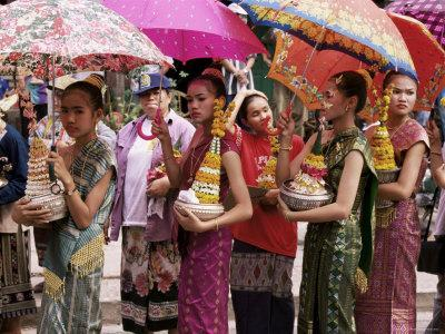 Young Women in Costumes, Lao New Year, Luang Prabang, Laos, Indochina, Southeast Asia