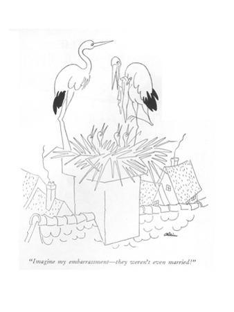 """Imagine my embarrassment—they weren't even married!"" - New Yorker Cartoon by Alain"