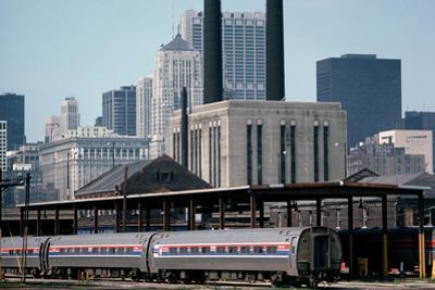 Amtrak Train in Railway Sidings, Chicago Union Station, Illinois, Usa, 1979