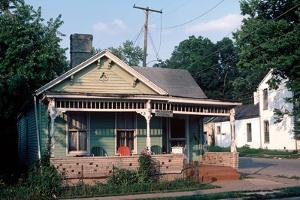 Wooden Clapboard House with Red Chair in Downtown Lexington, Kentucky, Usa, August 1984 by Alain Le Garsmeur