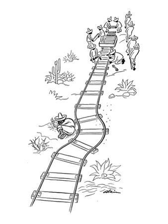 Mexicans laying railroad tracks curve it around a sleeping countryman. - New Yorker Cartoon by Alain