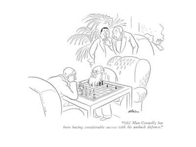 """""""Old Man Connelly has been having considerable success with his ambush def…"""" - New Yorker Cartoon by Alain"""