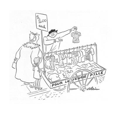 Street peddler with cart of children's clothes; sign on cart reads 'Pour L… - New Yorker Cartoon by Alain