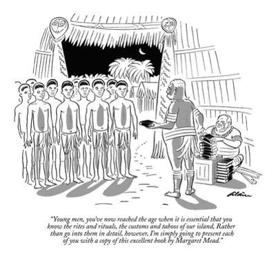 """""""Young men, you've now reached the age when it is essential that you know …"""" - New Yorker Cartoon by Alain"""
