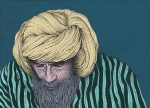 Bearded Man Looking Down by Alan Baker