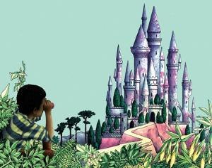Boy Looking Through Binoculars at Castle by Alan Baker