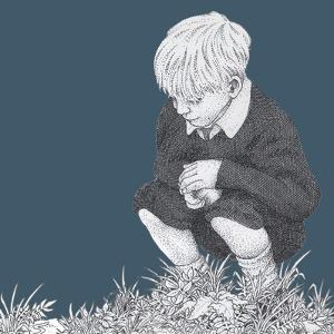 Boy with Stone Looking at Grass by Alan Baker