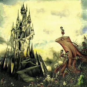 Fantasy Image of Old Castle and Elves on Tree Trunk by Alan Baker