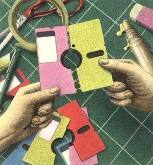 Man's Hands Tearing Apart Floppy Disk by Alan Baker