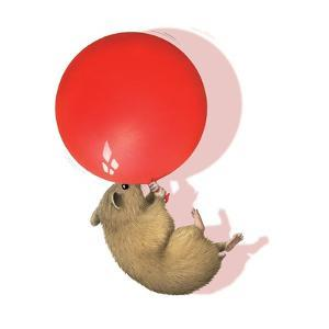 Mouse with Red Balloon by Alan Baker