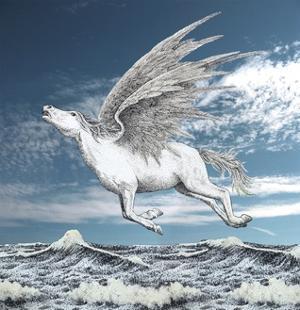 Pegasus Flying over Sea by Alan Baker