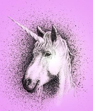 Portrait of Unicorn on Pink Background by Alan Baker