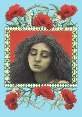 Portrait of Woman in Flowery Frame by Alan Baker