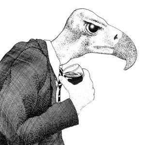 View of Bird Wearing Suit and Holding Wine Glass by Alan Baker