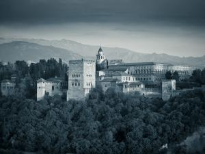 Black and White Image of Alhambra Palce, Granada, Andalucia, Spain by Alan Copson