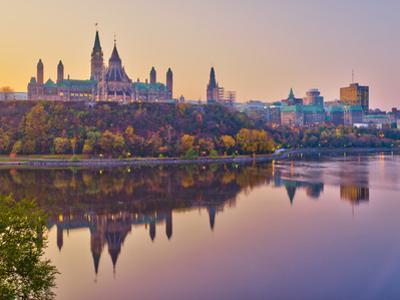 Canada, Ontario, Ottawa, Canadian Parliament across Ottawa River by Alan Copson