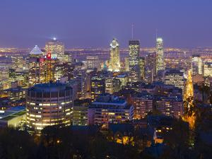 Canada, Quebec, Montreal, Downtown from Mount Royal Park or Parc Du Mont-Royal by Alan Copson